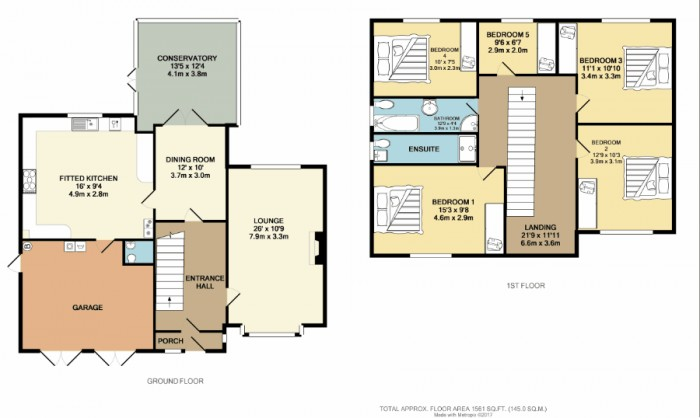 Floorplans For Barnfield Drive, Solihull
